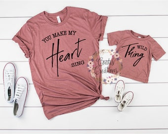 da5548e6 Mommy and Me Shirts//Wild Thing You Make My Heart Sing//new baby  outfit//matching mom daughter//baby shower gift//bella canvas tops