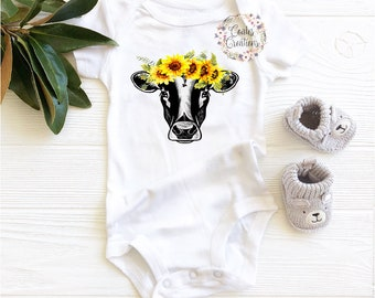 9d9d4d95930b Baby Sunflower Cow Onesie//Baby Cow//Spring Onesie//Sunflower//Cow  Onesie//Animal Onesie//Sunflower baby//Custom Onesie