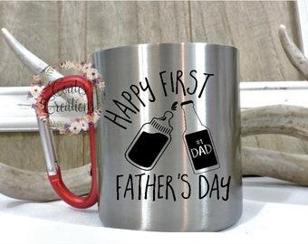 Carabiner mug//First Father's Day gift//stainless steel mug//camping mug//hiking mug//carabiner handle//fathers day mug