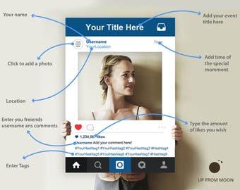 Instagram Frame, Instagram Photo Booth , Instagram Photo Booth Frame, Instagram, Instagram Cutout, Editable PDF File
