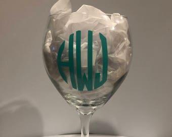 Custom Monogram Wine Glass
