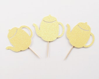 Tea Party Cake Topper - Tea Party Cupcake Topper - Tea for Two Cake Topper - Tea for Two Party Decor - Teapot Cupcake Toppers