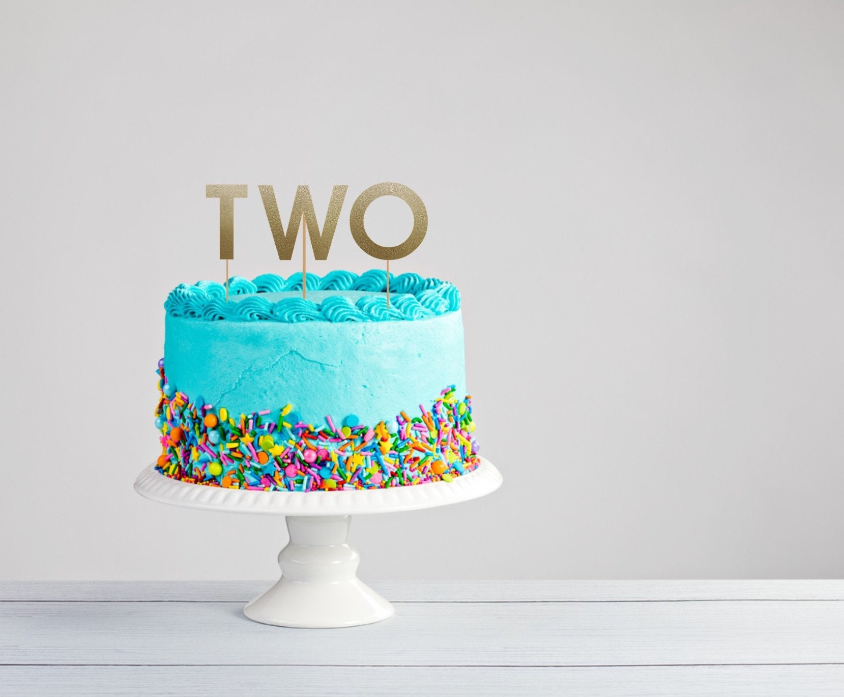 Two Cake Topper Second Birthday Cake Topper Custom Cake Etsy