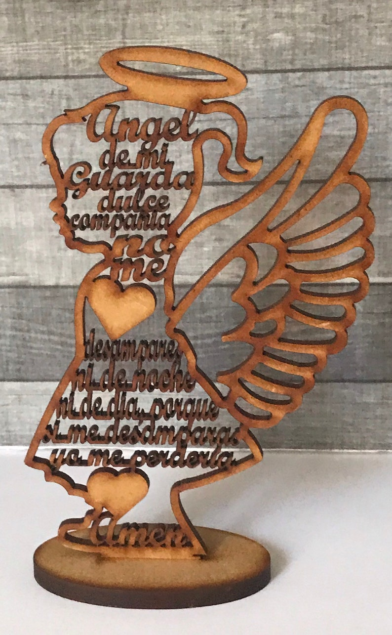 Recuerdito Angel de Mi Guarda en Silueta de Ni\u00f1a de Madera MDF de 5 78 pulgadas