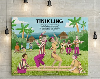 Tinikling Folk Dance & Lyrics Illustration