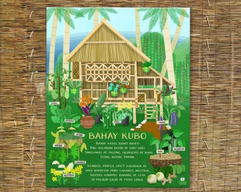 Bahay Kubo & Lyrics Illustration