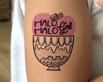Halo Halo Girl Temporary Tattoo