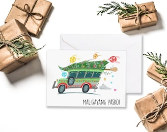 Christmas Jeepney on White Greeting Card