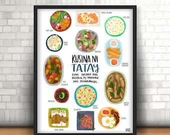 Kusina Ni NANAY/TATAY | Filipino Recipes | Tagalog | Digital Print | Food Art
