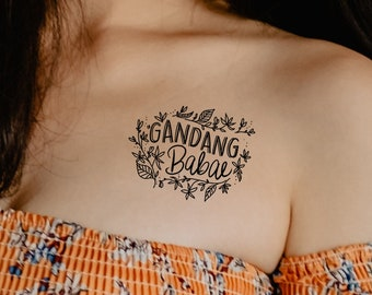 Gandang Babae framed in Sampaguitas Temporary Tattoo