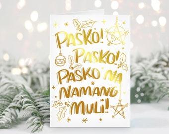 Pasko Na Naman Gold Foil Greeting Card
