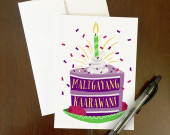 Maligayang Kaarawan | Greeting Card | Ube Cake | Purple Yam | Happy Birthday | Filipino-themed art | Philippines