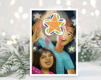 Children with Parol Greeting Card