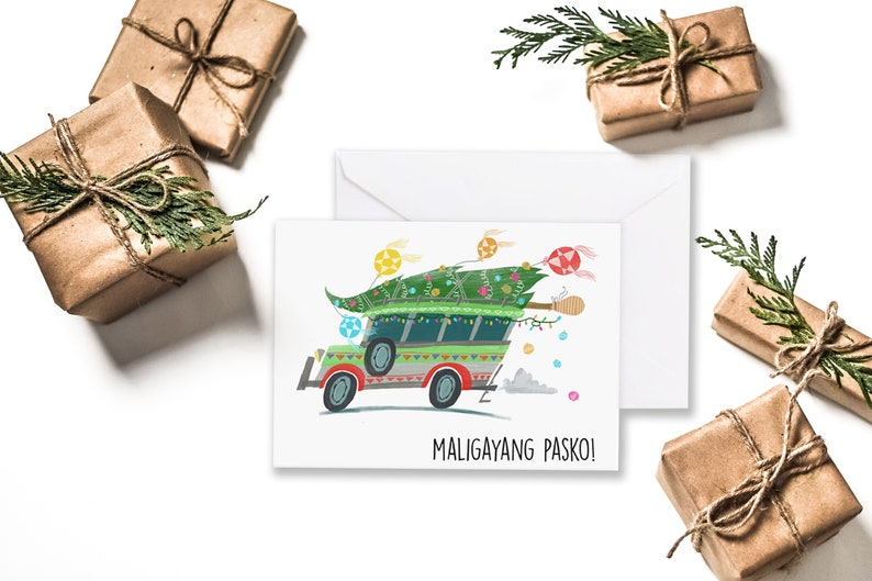 Christmas Jeepney.Christmas Jeepney On White 6 X 4 Greeting Card Maligayang Pasko Filipino Christmas Lantern Philippines Ornaments Tree
