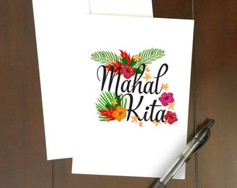 Mahal Kita Card   I Love You in Tagalog   Tropical flowers   Illustrations   Philippines   Valentine's Day