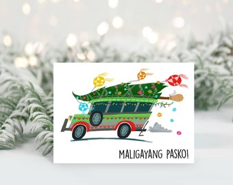CHRISTMAS | Jeepney on White Greeting Card