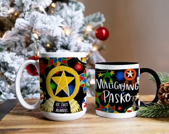 Various Colorful Parols   Maligayang Pasko   Merry Christmas in Tagalog   15oz Coffee Mug