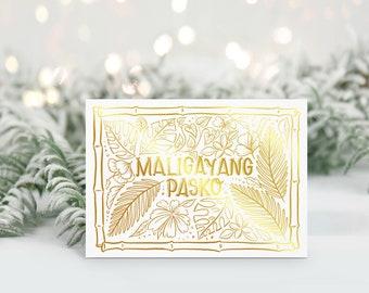 Maligayang Pasko in Gold Foil Greeting Card