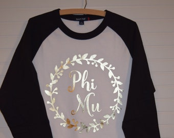 Phi Mu 102 Jersey with Contrast Sleeves and Gold Foil Design