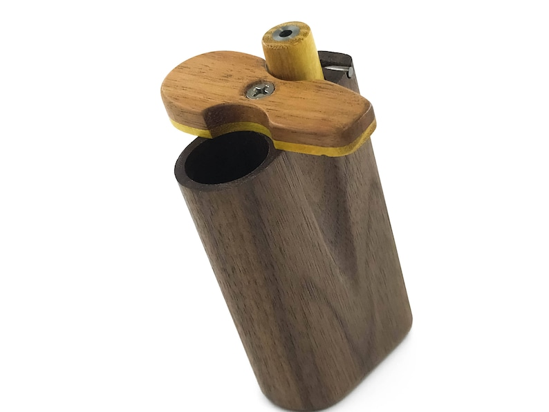 Dugout - Banker XL - Chillum multi hit one hitter  Taster box, wood dugout,  stainless steel pipe, cleanout pin