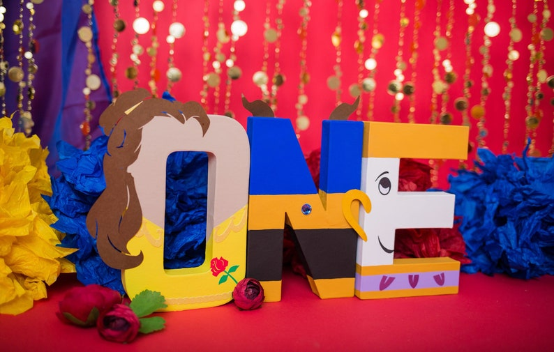 Beauty and the Beast letters Belle Beast & Chip  Beauty image 0