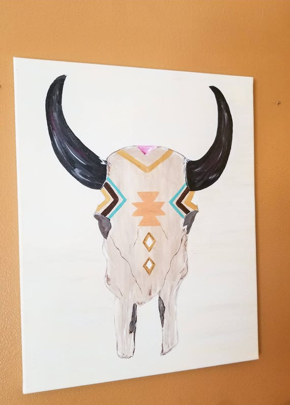 painted bull skull decor rustic bull skull art boho skull etsy