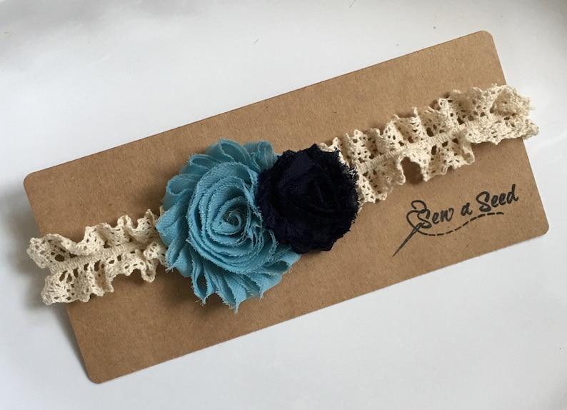 Vintage Headband Shabby Chic Headband Flower Headband Blue Headband Baby Headband