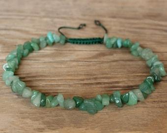 Green jade crystal bracelet raw jade bracelet green jade chip bracelet healing success calm friendship good luck harmony bracelet gift ideas