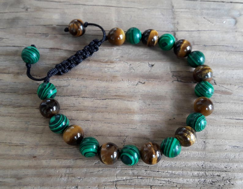 Prosperity bracelet tiger eye malachite energy muse transformation bracelet  healing crystals protection good fortune bracelet mens gift idea