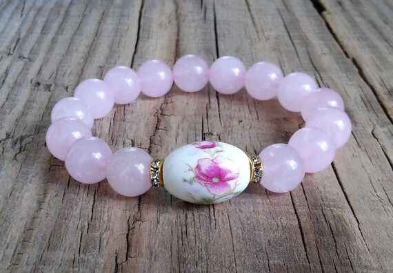 gemstone bracelet Rose Quartz Jewelry Rose Quartz bracelet Matte Gift for her Lotus Angelite Blue beads bracelet