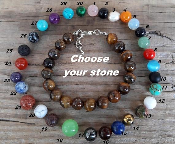 Gemstone mala necklace Wrap bracelet om stainless steel jasper Jade Onyx Brown Grey Pink Natural silver