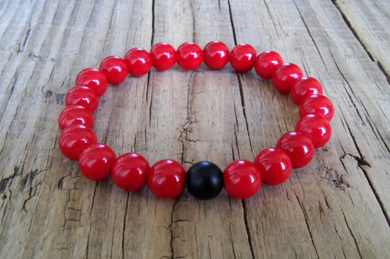 Red coral bracelet with black shungite stone bead coral shungite gemstone stretch bracelet friendship healing power balance love bracelet