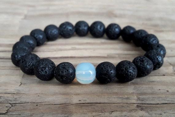 9be5b87ef9a97 Mens lava stone bracelet black lava bracelet moonstone