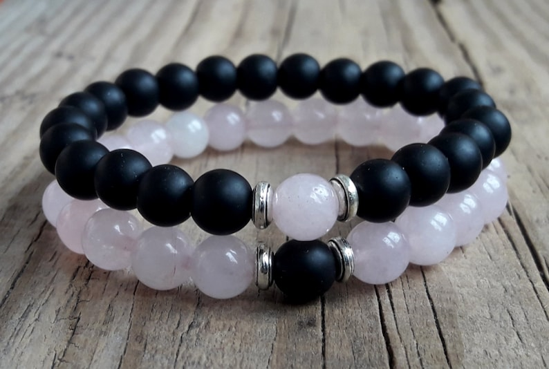 Best couple bracelets couple anniversary bracelets couple matching bracelets rose quartz bracelet shungite bracelet gift for his and her