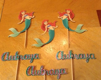 My Little Mermaid Personalized Cupcake Toppers