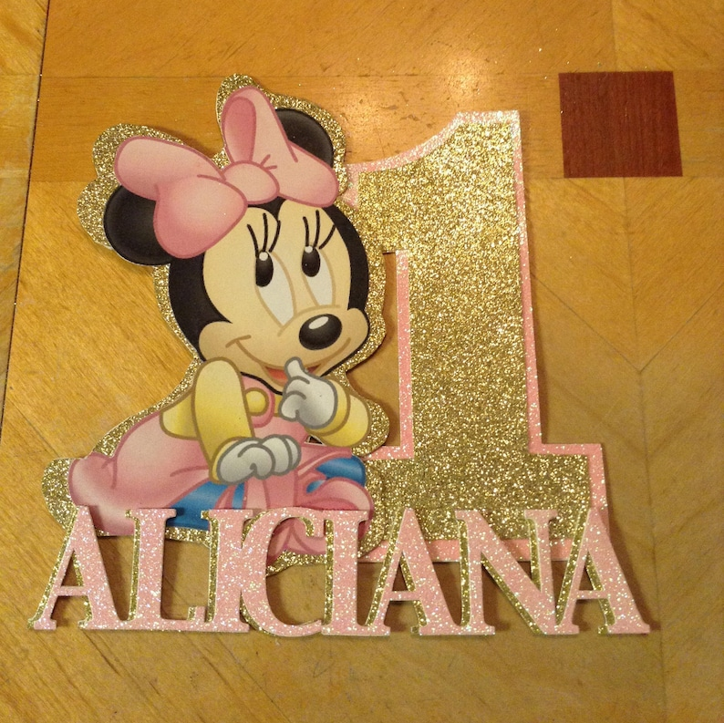 Fine Personalized Baby Minnie Mouse 1St Birthday Cake Topper Etsy Funny Birthday Cards Online Alyptdamsfinfo