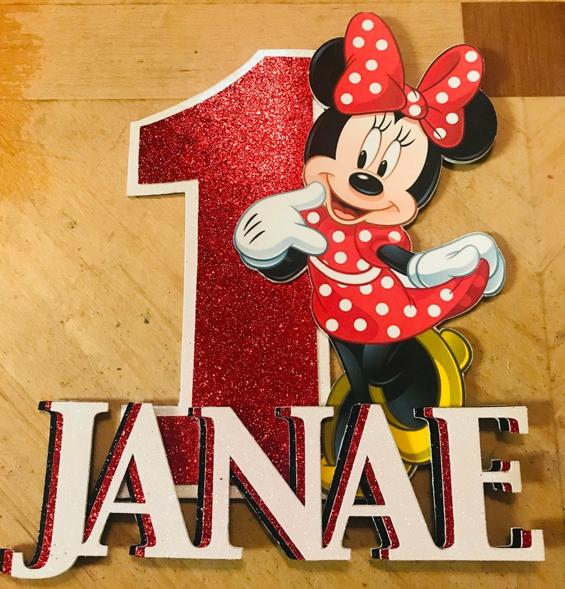 Minnie Mouse Personalized Cake Topper