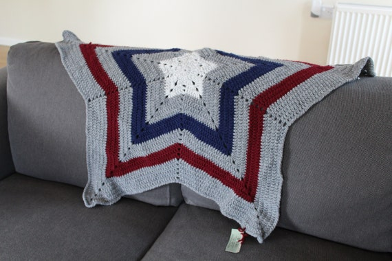 Crocheted 5 Pointed Star Baby Blanket Newborn Gift Baby Etsy