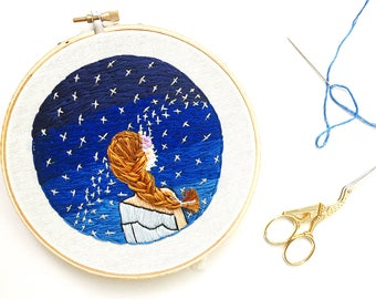 Embroidery hoop art. Constellations. Dorm decor. Gift for her.