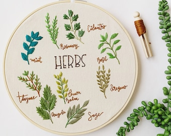 Beginner Embroidery Kit . Herbs Embroidery Kit. Floral Embroidery Kit. Modern Embroidery Pattern. Botanical Embroidery. DIY Craft Project.