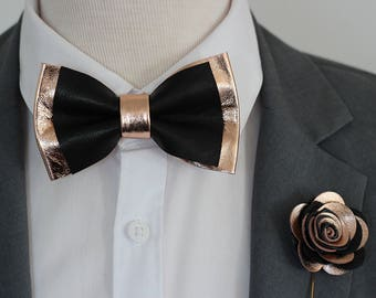 0bfec612f841 Rose Gold and black leather bow tie for men,boys rose gold wedding bow tie,copper  wedding boutonnere, genuine gold leahther toddler bow tie