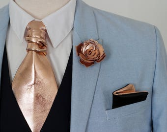 Rose Gold Floral Skinny Men/'s Tie Slim Tie Thin Tie Neck Tie Wedding Tie