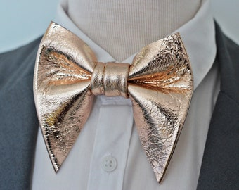 Oversized Light Pink Blush Gold Bow tie Vintage style 70`s Wedding Prom Unique
