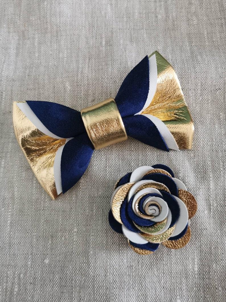 EppsJones wedding Gold and navy blue suede bow tie for men,boys rose gold wedding bow tie boutonnere midnight dark blue todler suspenders