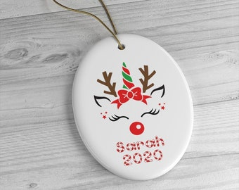 Personalized Unicorn Reindeer Ornament Custom Name 2020 Ceramic Nutcracker Christmas Gift For Her