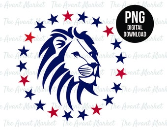 Lion with stars wreath PNG Trump Political We The People instant digital download graphic clip art