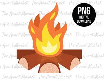 Campfire PNG Camping Fire Camp Logs sublimation instant digital download graphic clip art scrapbooking