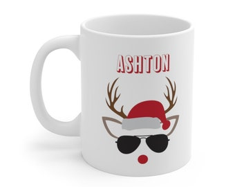 Custom name boy reindeer mug, kids hot cocoa, funny christmas mug, secret santa gift, personalized gift for him hot chocolate