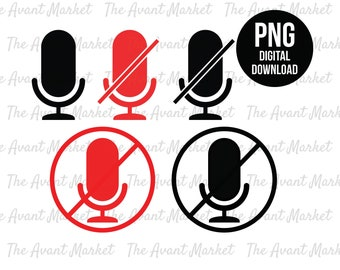 Muted Microphone PNG Muted Mic Work From Home instant digital download graphic clip art I was on mute you're muted