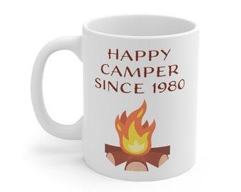 Happy Camper Since Birthday Year mug, custom personalized birthday date campfire mug, kids hot cocoa, camping mug, Christmas gift him her